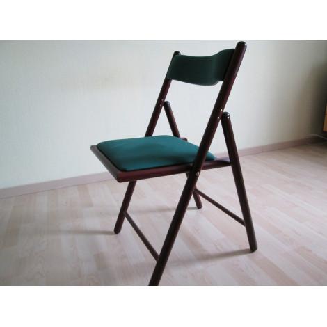 Stuhl, dunkel, Holz, grüner Bezug