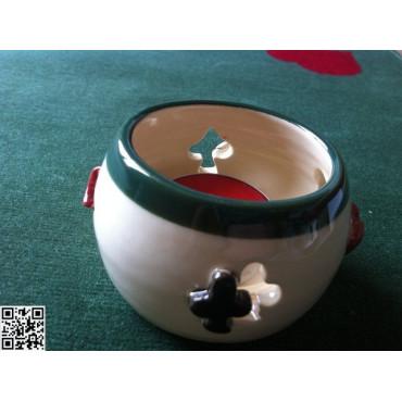 Windlicht mit grünem Teelicht, handgemacht, aussen Symbole