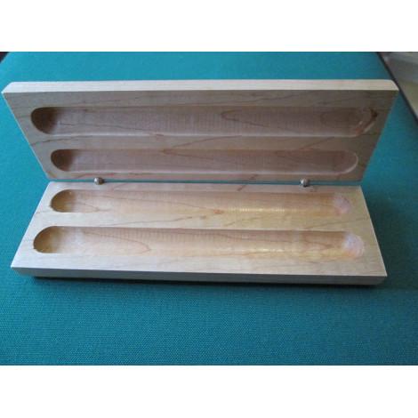 Stiftebox echtholz hell, für zwei Stift mit Rollschanier