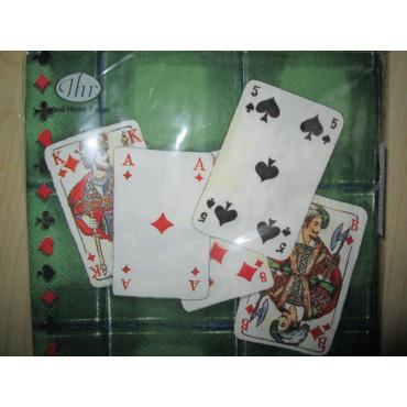 grüne Servietten mit Spielkarten