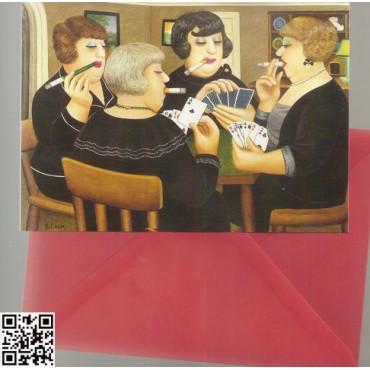 """edle Gross-Karte mit rotem Umschlag """"4 rauchende Bridgespielerinnen"""""""