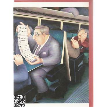 "edle Gross-Karte mit rotem Umschlag ""Bridge im Zug"""