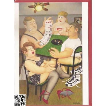 """edle Gross-Karte mit rotem Umschlag """"Strip-Bridge mit Zigarre"""""""
