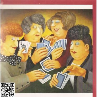 """edle Gross-Karte mit rotem Umschlag quadratisch """"vier Frauen geniessen Bridge"""""""