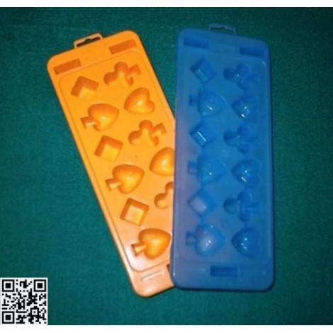 Eiswürfelformer Herz-Pik-Karo-Treff, blau oder gelb