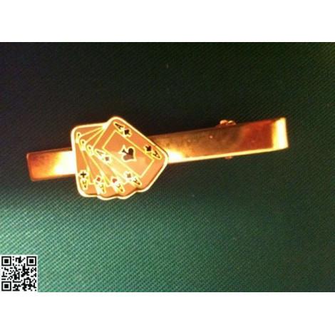 goldfarbener Krawattenclip den vier Assen in Farbe