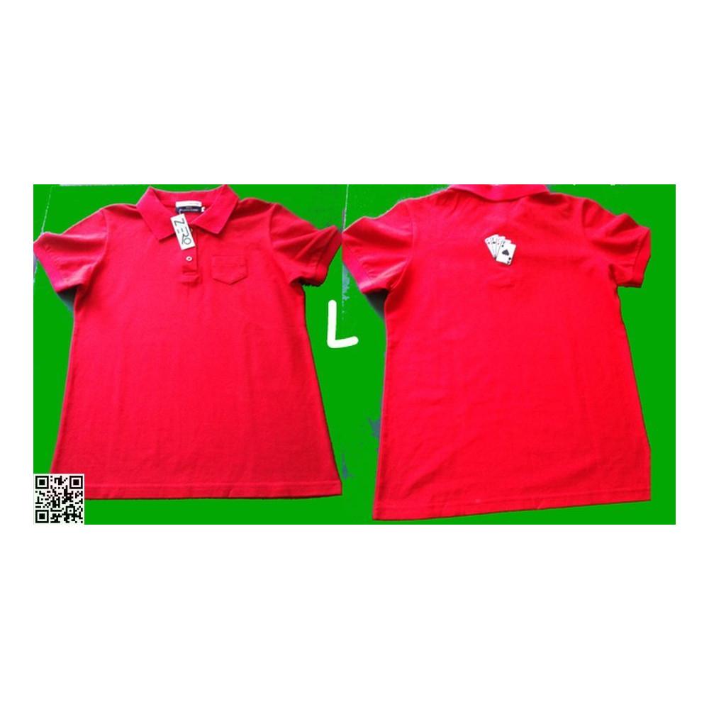POLO-SHIRT, Sehr schöne Qualität, Rot, mit den vier Assen auf dem Rücken, L