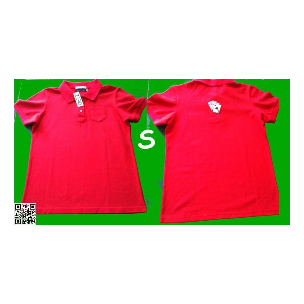 POLO-SHIRT, Sehr schöne Qualität, Rot, mit den vier Assen auf dem Rücken, S